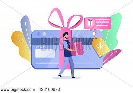 Discount Card, Man With Gift Box, Vector Illustration. Bonus Gift Card, Coupon, Voucher, Earn Reward
