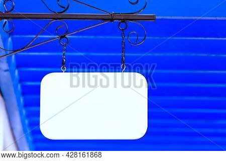 White Blang Wood Label And Bright Color Background