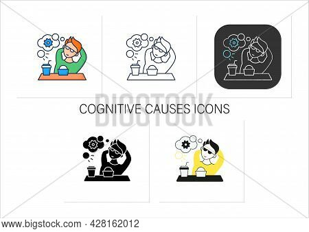 Workaholic Icons Set. Cognitive Causes. Man Relax, Think About Productivity. Work Love Concept.colle