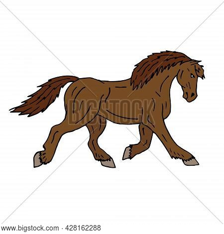 Vector Hand Drawn Doodle Sketch Colored Draft Horse Isolated On White Background