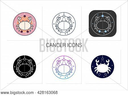 Cancer Icons Set. Fourth Fire Sign In Zodiac. Crab Birth Symbol. Mystic Horoscope Sign. Astrological