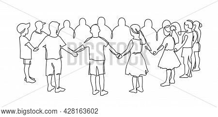 Group Of Young Children Holding Hands Continuous One Line Drawing. Friendships Concept. Happy Cute K