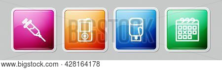 Set Line Doping Syringe, Music Player, Boxing Glove And Calendar Fitness. Colorful Square Button. Ve