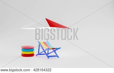 3d Rendering Accessories Summer Background Chair Rubber Ring And Umbrella On White Background. Summe