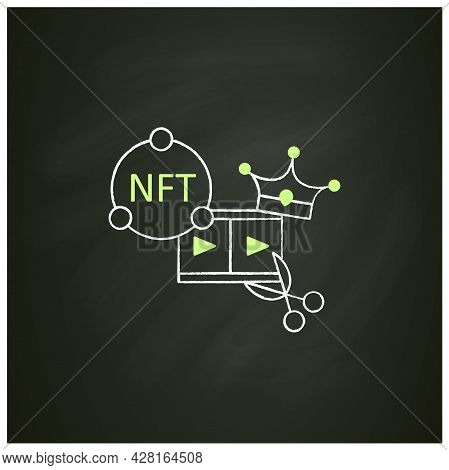 Nft Video Clips Chalk Icon.clips With Non Fungible Token Coin. Selling.represent Digital Files. Used