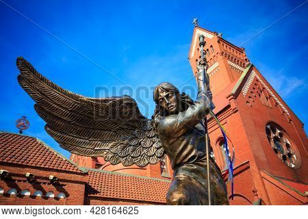 Minsk, Belarus - April 5, 2014: Statue Of Archangel Michael With Outstretched Wings, Thrusting A Spe
