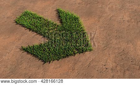 Concept or conceptual green summer lawn grass symbol shape on brown soil or earth background, road sign. 3d illustration metaphor for navigation, strategy, journey, guidance, choice and decision