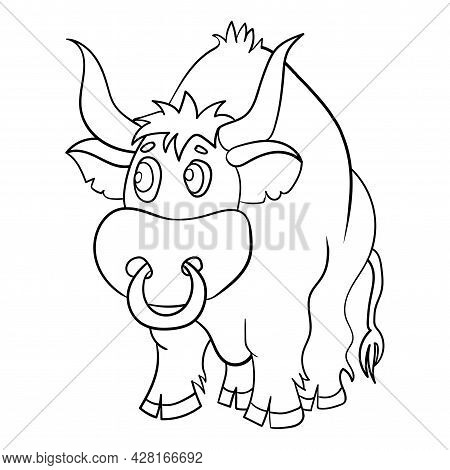 Outline Handdrawn Kids Drawing Style. Bull Cow Or Taurus Icon. Simple Flat Vector Illustration.