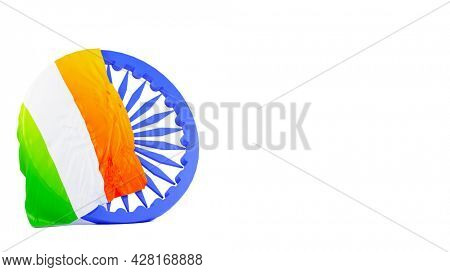 India Flag Over 3D Blue Ashoka Wheel And Copy Space On White Background.