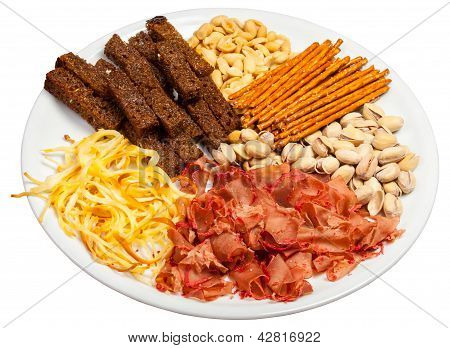 Plate Full Of Salted Snacks