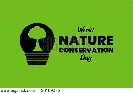 World Nature Conservation Day Typography With Tree And Bulb Sign
