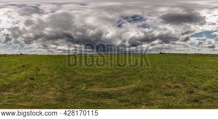 Full Seamless Spherical Hdri Panorama 360 Degrees Angle View Among Field In Summer Day With Awesome