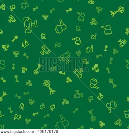 Set Line Softbox Light, And On Seamless Pattern. Vector