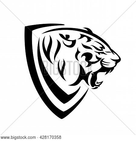 Roaring Tiger Head In Simple Heraldic Shield - Black And White Vector Design For Security Concept Co