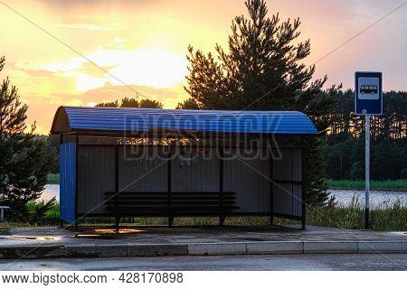 Ostashkov, Russia - June, 16, 2021: busstation in Ostashkov, Russia at sunset