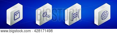 Set Isometric Line Book, Unknown Search, Abacus And Basketball Ball Icon. Vector