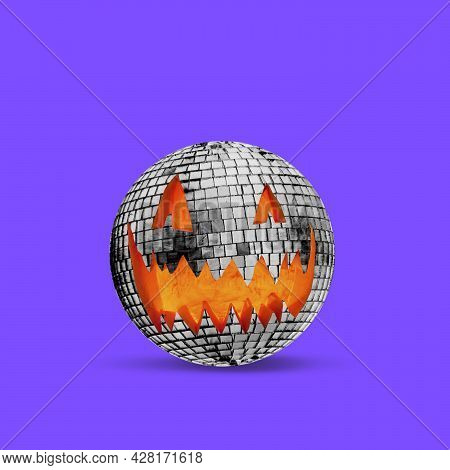 Scary Halloween Pumpkin Like Big Disco Ball Isolated On Purple Background, The Night Of Fear.