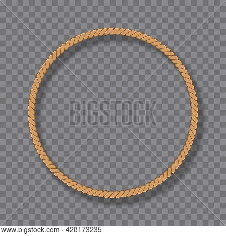 Round Rope Frame In Marine Style Isolated On Transparent Background. Yellow Nautical Twisted Rope Wo