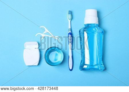 Flat Composition For Oral Care And Place For Text On A Light Background.