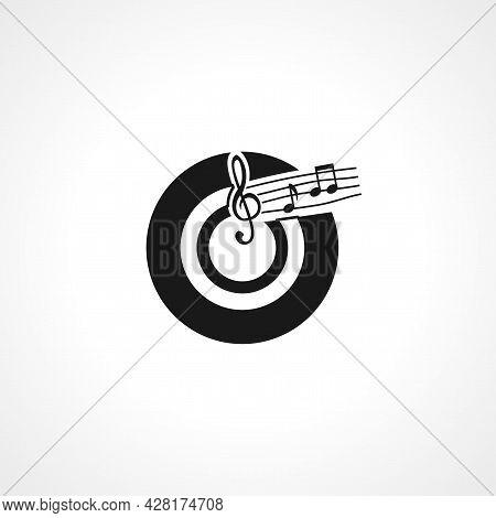Musical Record, Vintage Musical Recordicon. Musical Record Simple Vector Icon.