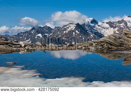 View Of Monte Rosa From The Pass Monte Moro Pass With Beautiful Lake Smeraldo