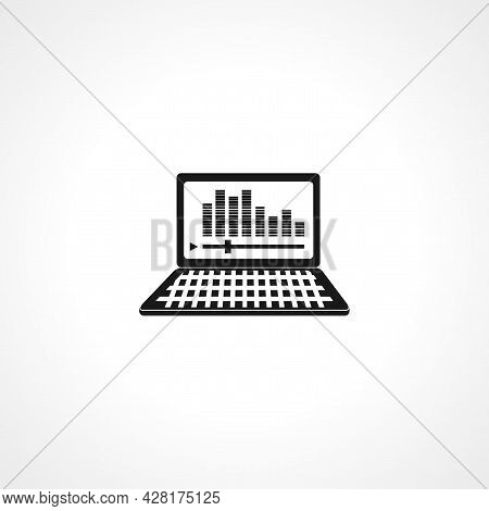 Music Plays In A Laptop Icon. Music Plays In Laptop Simple Vector Icon. Music Plays In Laptop Isolat