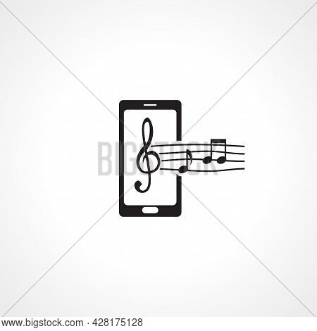Mobile Phone Music Icon. Mobile Phone Music Simple Vector Icon. Mobile Phone Music Isolated Icon.