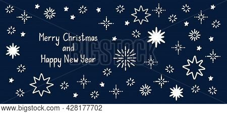 Comets And Stars Hand Drawn Doodle Background. Merry Christmas And Happy New Year Quote Lettering. S