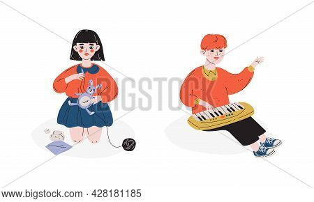 Talented Children Set, Girl Sewing, Boy Playing Toy Synthesizer, Child Development, Hobby, Education