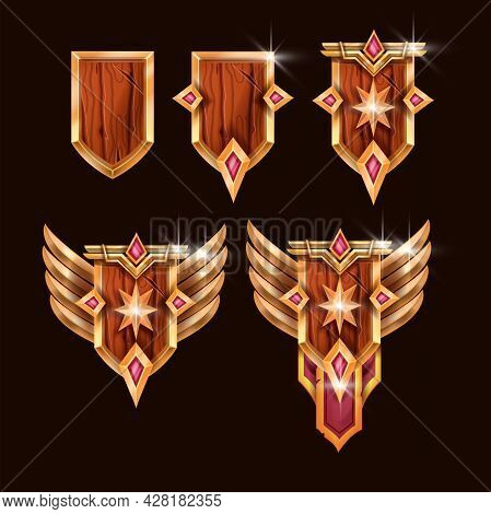 Game Badge Vector Icon Kit, Rank Award Medal, Wooden Shield, Gold Star, Wings, Gem Stone. Level Up W