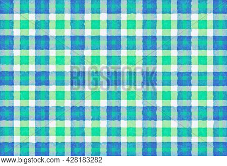 Blue White Green Checkered Old Vintage Background With Blur, Gradient And Grunge Texture. Classic Ch