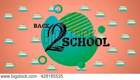 Image of back 2 school text over school items icons on orange background. school, education and study concept digitally generated image.