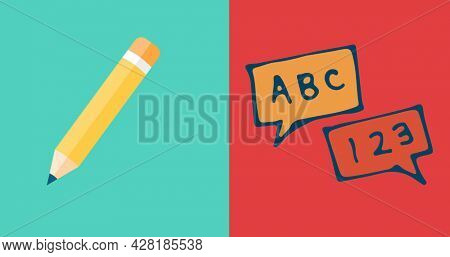 Image of science text over school items icons on green and red background. school, education and study concept digitally generated image.
