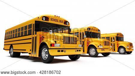 Yellow school bus fleet isolated on white. Back to school 3D illustration