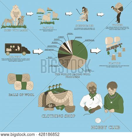 Stages Of Wool Production. Sheep Shearing, Wool Delivery, Filature, Yarn Dressing, Sale, Knitting.