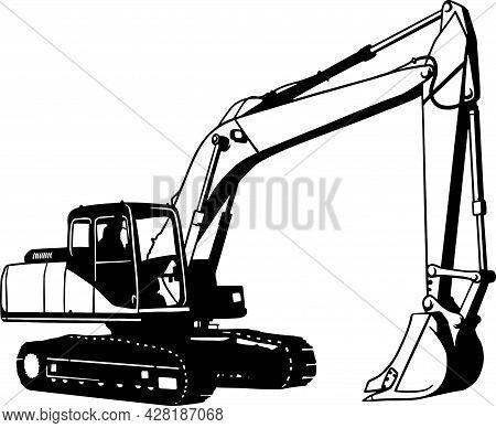Excavator, Construction Vehicle - Digger Machine, Farming Vehicle Stencil
