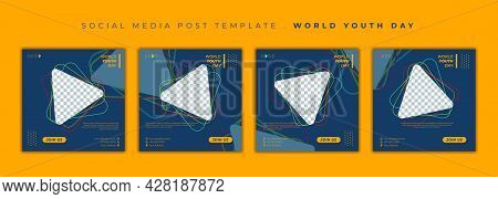 Set Of Social Media Post Template. World Youth Day Social Media Template With Triangle And Dark Back