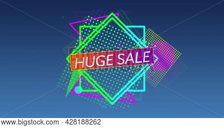Image of the words Huge Sale in white capital letters and colourful outline and mesh shapes tumbling into position in the foreground, against a gradient dark grey background 4k