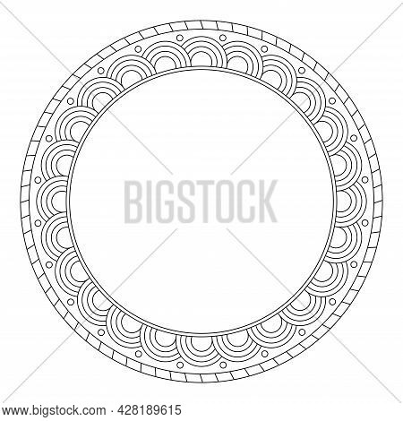 Round Decorative Frame With Place For Text, Vector Illustration