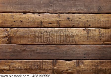 Vintage Background From Wooden Oak Planks. Aged Boards On The Wall. Roughly Finished Textured Wood P