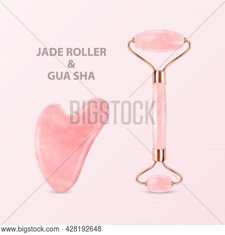 Vector 3d Realistic Jade Roller, Gua Sha Scraping Massage Tool Set. Natural Pink Rose Quartz Stone S