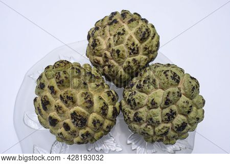 Fresh Custard Apple Fruits Also Known As Sugar-apples Or Sharifa Name Annona Squamosa. Sweet Fruits