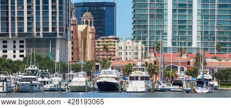 June 22. 2020. Panoramic view of the St. Petersburg municipal Marina in Downtown St. Petersburg, Florida, USA.