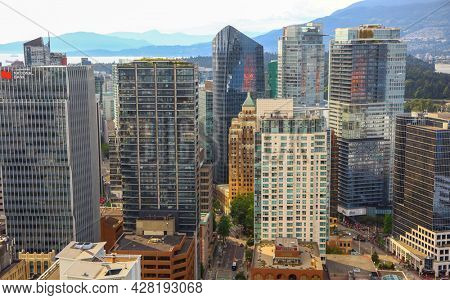 VANCOUVER, BRITISH COLUMBIA, CANADA - July 01, 2019-Aerial view of downtown Vancouver,  is the third largest metropolitan area in Canada.