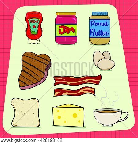 Big Set Of Common Food Items Found In Every House. Ketchup Jam Peanut Butter Steak Eggs Bacon Bread