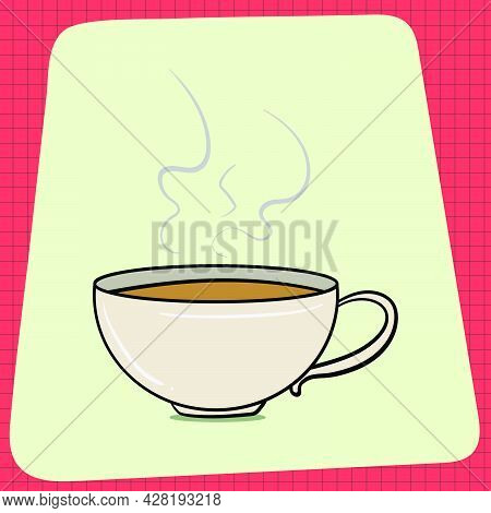 Hot Cup Of Coffee In The Morning. Everyday Household Breakfast Items. Food Icons For Menu Design. Ve