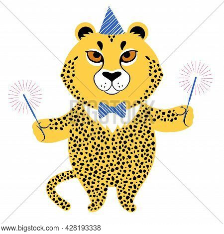 Vector Illustration Of A Cute Cartoon Cheetah In Party Hat With Sparkles.