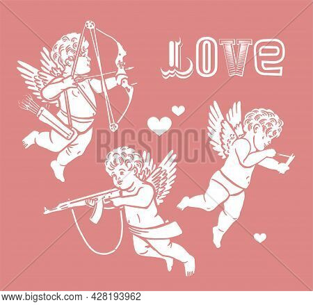 Set Of Romantic Bottle Labels For Happy Valentines Day With Cupids. Love Potions. Hand Drawn Illustr