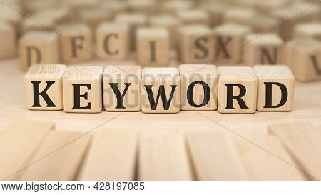 Text Keyword On Wooden Blocks. Business Concept.