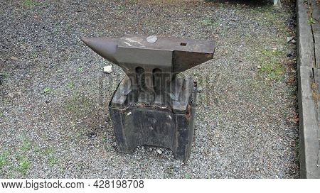 Old Rusty Separate Anvil On A Stone Base